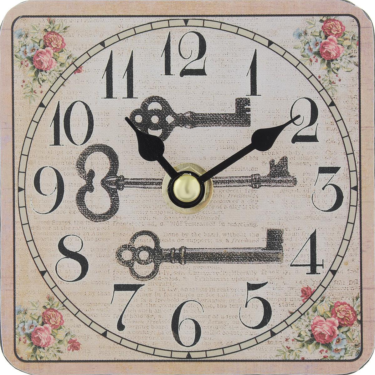 Часы настольные Феникс-Презент Волшебный ключик, 10 х 10 см54 009303Настольные часы квадратной формы Феникс-Презент Волшебный ключик своим эксклюзивным дизайном подчеркнут оригинальность интерьера вашего дома. Циферблат оформлен изображением цветов и тремя ключами. Часы выполнены из МДФ. МДФ (мелкодисперсные фракции) представляет собой плиту из запрессованной вакуумным способом деревянной пыли и является наиболее экологически чистым материалом среди себе подобных. Изделие имеет две стрелки - часовую и минутную.Настольные часы Феникс-Презент Волшебный ключик подходят для кухни, гостиной, прихожей или дачи, а также могут стать отличным подарком для друзей и близких.ВНИМАНИЕ!!! Часы работают от сменной батареи типа АА 1,5V (в комплект не входит).