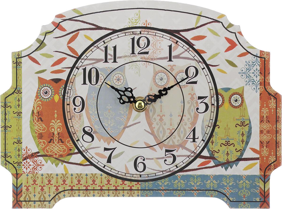 Часы настольные Феникс-Презент Четыре совушки, 24 х 18 смFS-91909Настольные часы Феникс-Презент Четыре совушки своим эксклюзивным дизайном подчеркнут оригинальность интерьера вашего дома.Часы выполнены из МДФ. МДФ (мелкодисперсные фракции) представляет собой плиту из запрессованной вакуумным способом деревянной пыли и является наиболее экологически чистым материалом среди себе подобных. Часы имеют две стрелки - часовую и минутную.Настольные часы Феникс-Презент Четыре совушки подходят для кухни, гостиной, прихожей или дачи, а также могут стать отличным подарком для друзей и близких.ВНИМАНИЕ!!! Часы работают от сменной батареи типа АА 1,5V (в комплект не входит).