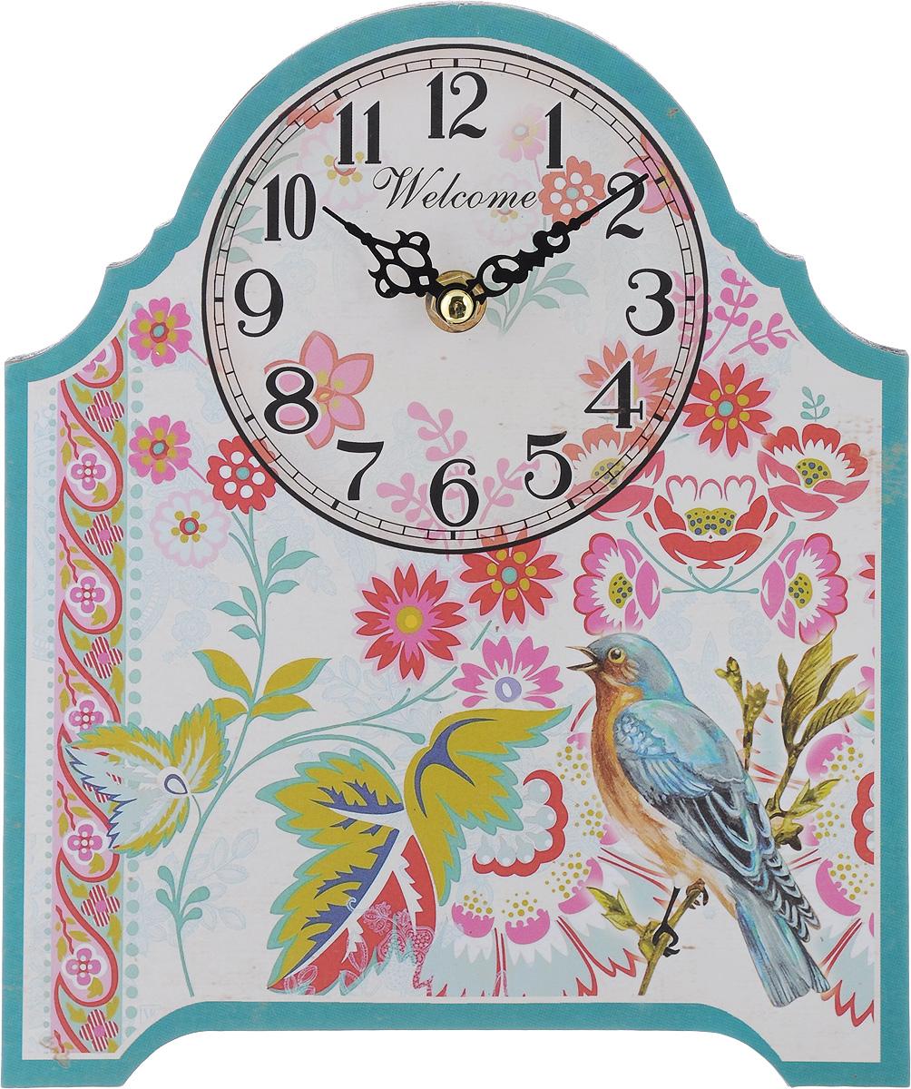 Часы настольные Феникс-Презент Соловей, 20 х 24 см40724Настольные часы Феникс-Презент Соловей своим эксклюзивным дизайном подчеркнут оригинальность интерьера вашего дома. Циферблат оформлен изображением цветов и соловья. Часы выполнены из МДФ. МДФ (мелкодисперсные фракции) представляет собой плиту из запрессованной вакуумным способом деревянной пыли и является наиболее экологически чистым материалом среди себе подобных. Часы имеют две стрелки - часовую и минутную. Настольные часы Феникс-Презент Соловей подходят для кухни, гостиной, прихожей или дачи, а также могут стать отличным подарком для друзей и близких. ВНИМАНИЕ!!! Часы работают от сменной батареи типа АА 1,5V (в комплект не входит).