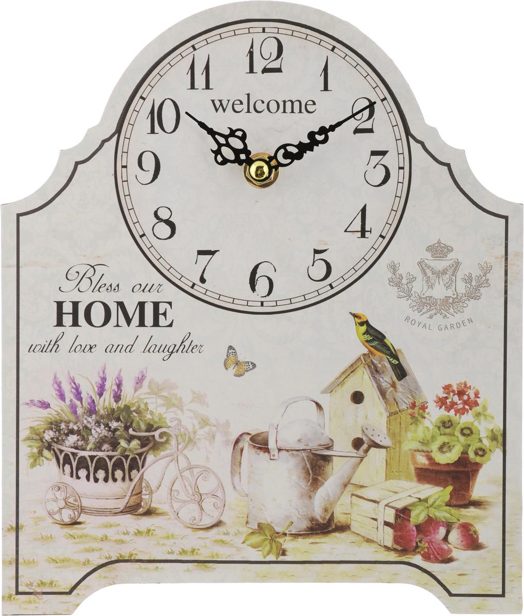 Часы настольные Феникс-Презент Королевский сад, 20 х 24 см54 009303Настольные часы Феникс-Презент Королевский сад своим эксклюзивным дизайном подчеркнут оригинальность интерьера вашего дома.Часы выполнены из МДФ. МДФ (мелкодисперсные фракции) представляет собой плиту из запрессованной вакуумным способом деревянной пыли и является наиболее экологически чистым материалом среди себе подобных. Часы имеют две стрелки - часовую и минутную.Настольные часы Феникс-Презент Королевский сад подходят для кухни, гостиной, прихожей или дачи, а также могут стать отличным подарком для друзей и близких.ВНИМАНИЕ!!! Часы работают от сменной батареи типа АА 1,5V (в комплект не входит).