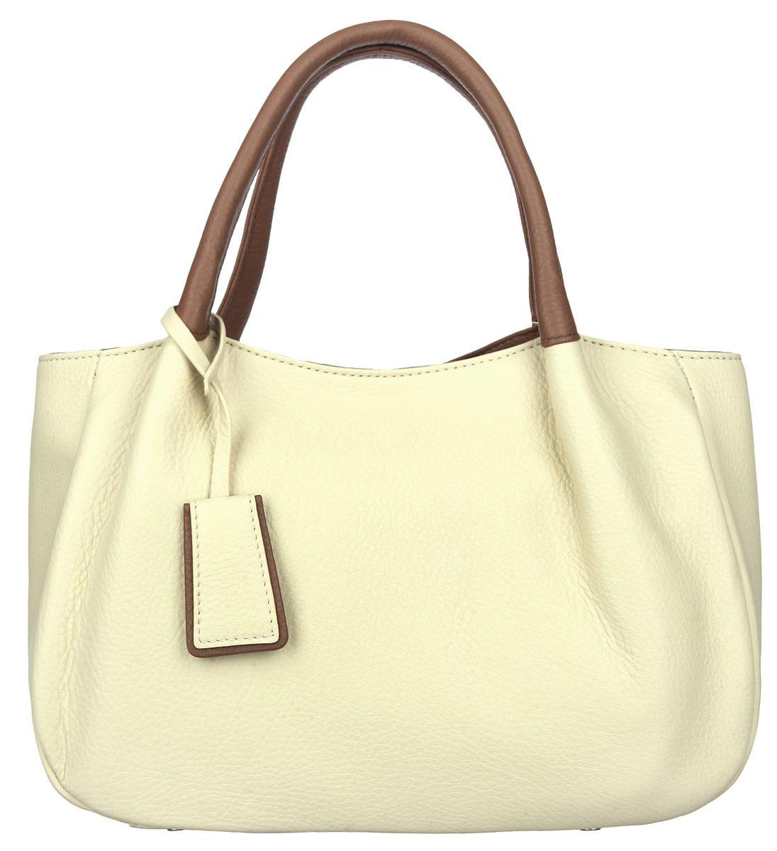 Сумка женская Palio, цвет: коричневый, светло-желтый. 13684AS3-W1-152/77473298с-1Стильная женская сумка Palio выполнена из натуральной кожи с зернистой фактурой, оформлена металлической фурнитурой.Изделие содержит одно отделение, которое закрывается на молнию. Внутри расположены: два накладных кармашка для мелочей, карман-средник на молнии и врезной карман на молнии. На задней стороне сумки, расположен врезной карман на застежке-молнии. Сумка оснащена двумя практичными ручками для переноски и съемным плечевым ремнем регулируемой длины.Оригинальный аксессуар позволит вам завершить образ и быть неотразимой.