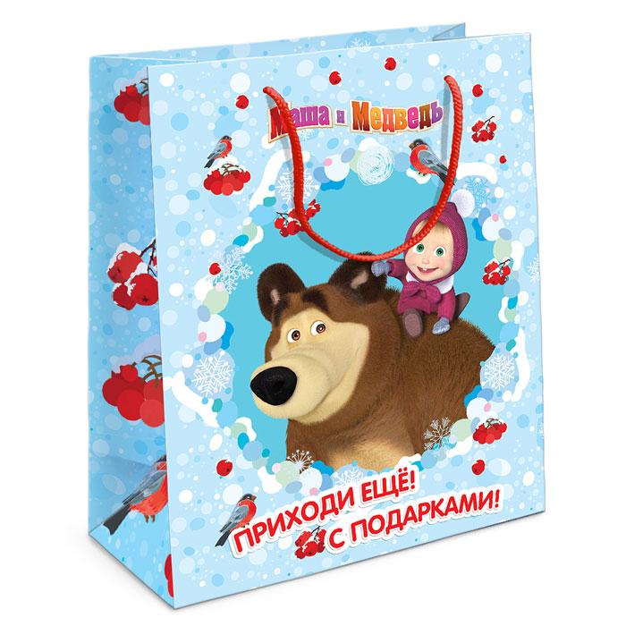 Маша и Медведь Пакет подарочный Маша новогодняя 23 см х 18 см х 10 см