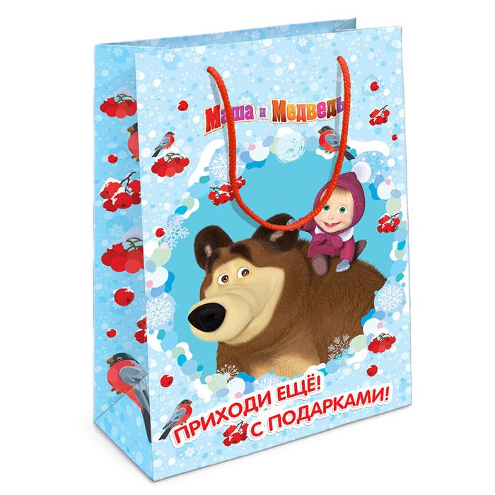 Маша и Медведь Пакет подарочный Маша новогодняя 35 см х 25 см х 9 см