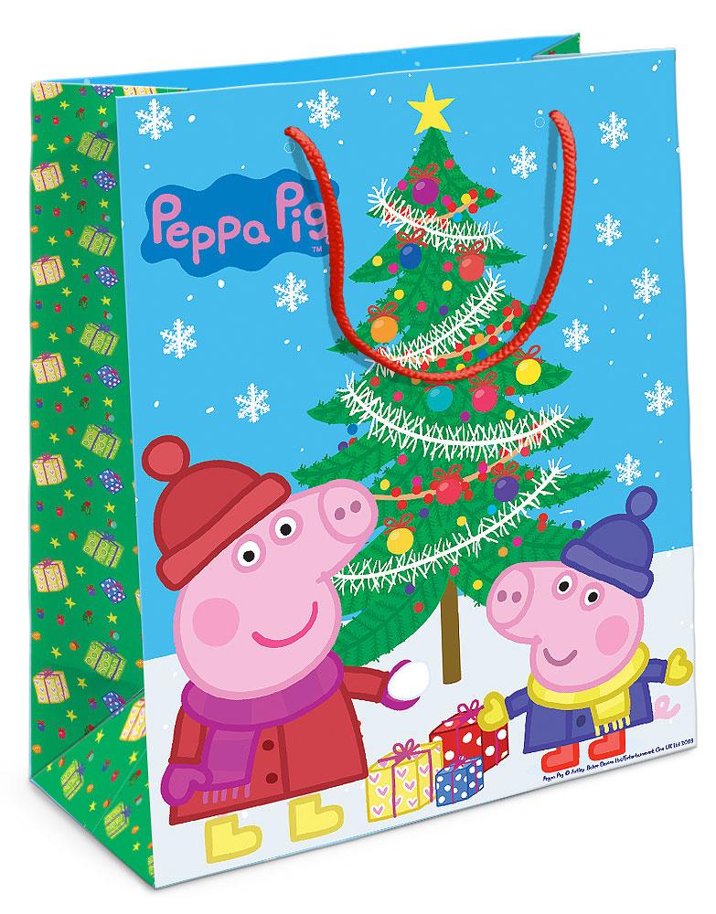 Peppa Pig Пакет подарочный Пеппа и ёлка 23х18х10 см