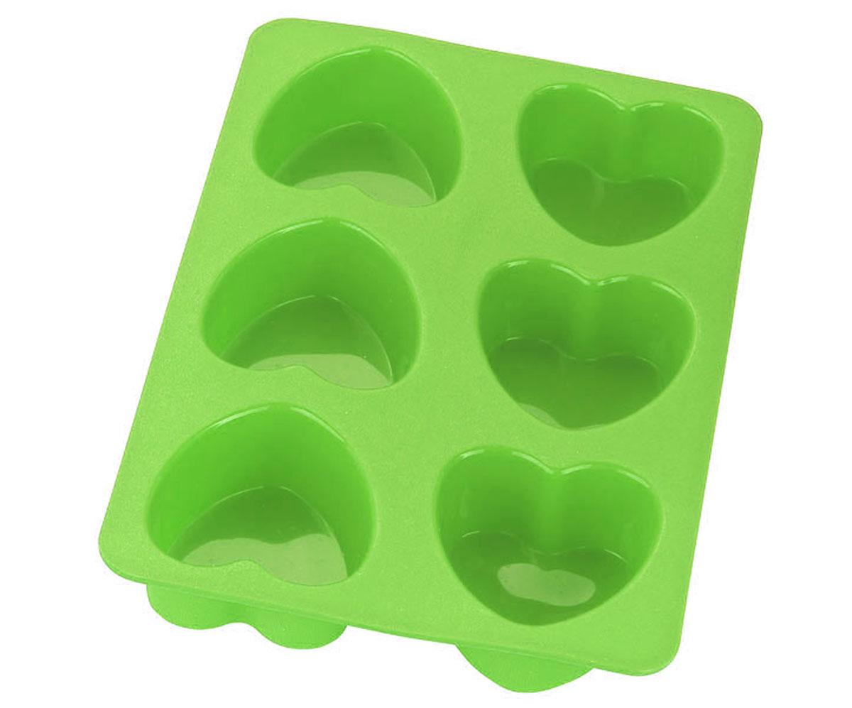 Форма для выпечки Calve Сердца, силиконовая, цвет: салатовый, 6 ячеек300196Форма для выпечки Calve Сердца изготовлена из высококачественного силикона. Стенки формы легко гнутся, что позволяет легко достать готовую выпечку и сохранить аккуратный внешний вид блюда. Форма имеет 6 ячеек в виде сердец.Изделия из силикона очень удобны в использовании: пища в них не пригорает и не прилипает к стенкам, форма легко моется. Приготовленное блюдо можно очень просто вытащить, просто перевернув форму, при этом внешний вид блюда не нарушится. Изделие обладает эластичными свойствами: складывается без изломов, восстанавливает свою первоначальную форму. Порадуйте своих родных и близких любимой выпечкой в необычном исполнении. Подходит для приготовления в микроволновой печи и духовом шкафу при нагревании до +230°С; для замораживания до -40°.Можно мыть в посудомоечной машине. Размер ячейки: 6,5 х 7 х 3,5 см. Размер формы: 28 х 18,5 х 3,5 см.