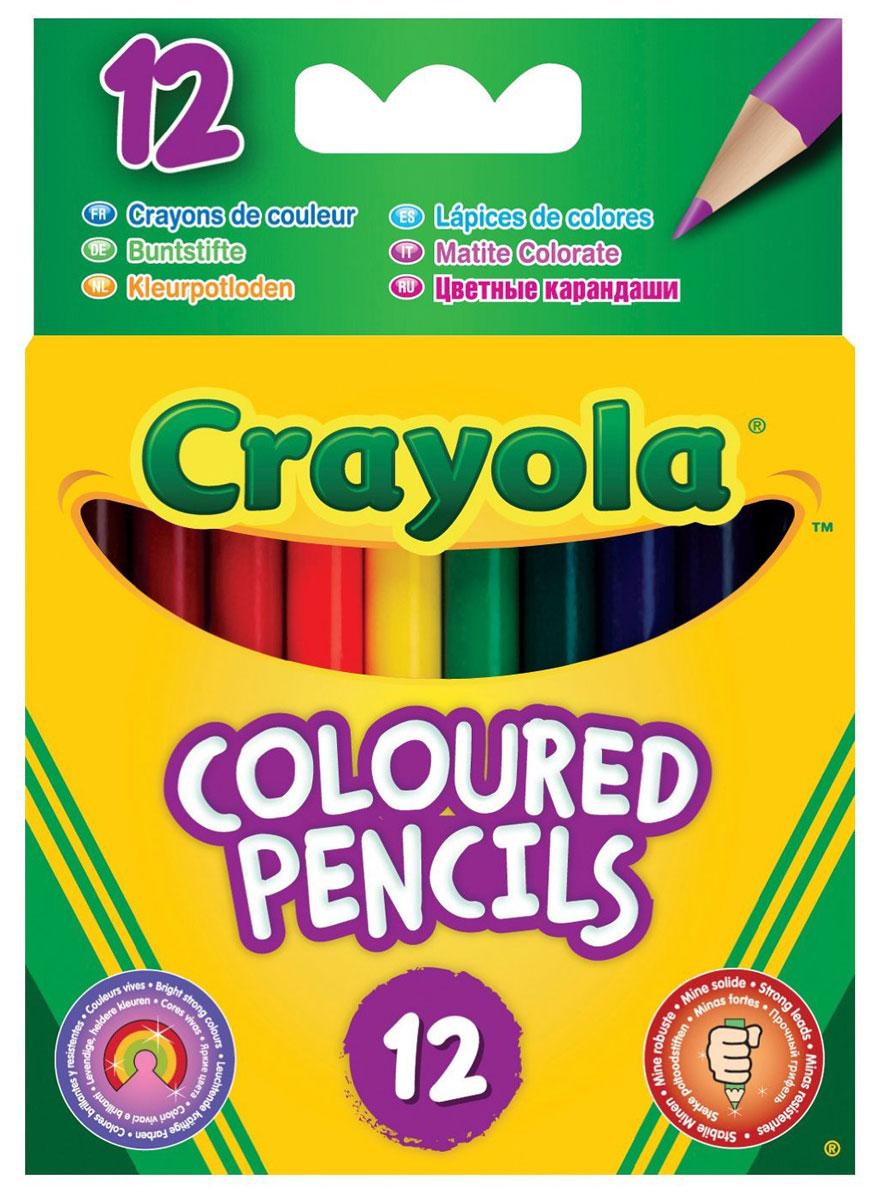 Crayola Набор коротких цветных карандашей 12 шт4112Набор цветных карандашей от Crayola - это набор из 12 коротких цветных карандашей с круглым сечением, который предназначен для юных художников. Такие карандаши очень прочны. Благодаря увеличенному диаметру грифеля (0,33 см при диаметре карандаша 0,7 см) эти карандаши имеют повышенную стойкость к механическим повреждениям. Это значит, что если ребенок уронит карандаш или будет слишком сильно нажимать при рисовании, у грифеля меньше шансов расколоться. Карандаши сделаны из качественной гладкой древесины и их удобно точить. Рекомендуемый возраст: от 3-х лет.