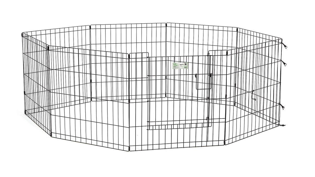 Вольер для животныx Midwest Life Stages, 8 панелей, цвет: черный, 61 x 61 см0120710Вольер для животных 8-ми панельный с дверью для использования в помещении и на улице.Запатентованная дверная система MAXLock повышает безопасность, предоставляя множество точек блокировки по периметру двери. Эргономичная ручка-замок позволяет легко и удобно управлять дверью одним движением, без сгибания коленей.Прочное покрытие вольера Electro-Coat обеспечивает долговечную защиту.Вольер легко складывается для удобного хранения и транспортировки, легко собирается, не требуется никаких инструментов или дополнительных деталей. В комплект включены угловые усилители, которые добавляют вес и поддерживают конфигурацию ограждения, они так же могут быть использованы для защиты напольного покрытия, и крепежи, которыми оснащена функциональная безопасная каркасная дверца.Ограниченная площадь:1,5 кв. метра.Возможные конфигурации вольера: квадрат, прямоугольник, восьмиугольник.Вес конструкции: 7,8 кг.Размер одной панели: 61 х 61 см.