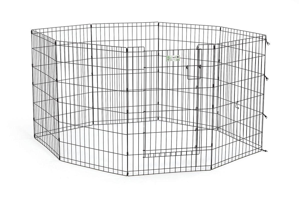 Вольер для животныx Midwest Life Stages, 8 панелей, цвет: черный, 61 x 91 см0120710Вольер для животных 8-ми панельный с дверью для использования в помещении и на улице.Запатентованная дверная система MAXLock повышает безопасность, предоставляя множество точек блокировки по периметру двери. Эргономичная ручка-замок позволяет легко и удобно управлять дверью одним движением, без сгибания коленей.Прочное покрытие вольера Electro-Coat обеспечивает долговечную защиту.Вольер легко складывается для удобного хранения и транспортировки, легко собирается, не требуется никаких инструментов или дополнительных деталей. В комплект включены угловые усилители, которые добавляют вес и поддерживают конфигурацию ограждения, они так же могут быть использованы для защиты напольного покрытия, и крепежи, которыми оснащена функциональная безопасная каркасная дверца.Ограниченная площадь:1,5 кв. метра.Возможные конфигурации вольера: квадрат, прямоугольник, восьмиугольник.Вес конструкции: 10,8 кг.Размер одной панели: 61 х 91 см.