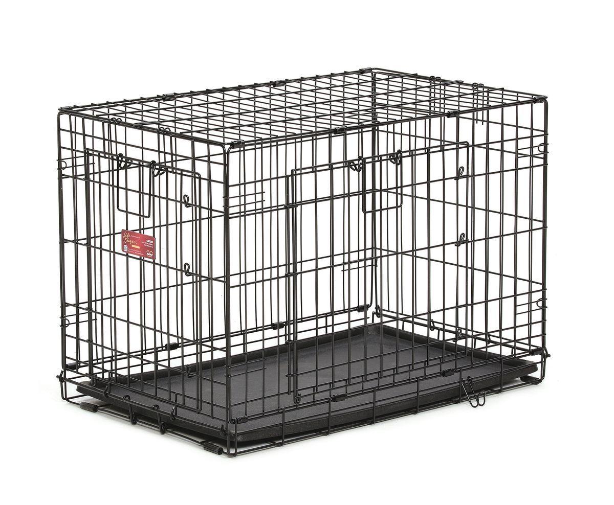 Клетка Midwest Life Stag A.C.E., 2 двери ,78,1 x 50,1 x 54,6 см0120710Клетка Midwest  Life Stag A.C.E. разработана специально для транспортировки средних и крупных собак. Закругленная угловая защита обеспечивает безопасность питомцам и людям. Клетка из нержавеющей стали оснащена: - двумя надежными дверками; - безопасным двойным замком (задвижка закрывает и снаружи и внутри); - прочным пластиковым поддоном, который не повреждает поверхность, на которой размещается; - разделяющей панелью, обеспечивающей создание универсальных отсеков; - качественными ручками для переноски питомца.Размер клетки (ДхШхВ): 78,1 x 50,1 x 54,6 см. Вес конструкции: 7,9 кг.Товар сертифицирован.