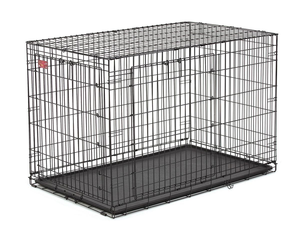 Клетка Midwest Life Stage A.C.E. 2 двери, 123,9 x 78,5 x 81,9 см448DDУстойчивая, крепкая клетка выполнена из качественного металла, обработана долговечным сатиново-черным покрытием Electro-Coat, обеспечивает безопасность животного и хозяина. Двери расположены на смежных боковых сторонах. Запатентованная Дверная система MAXLock повышает безопасность, предоставляя множество точек блокировки по периметру двери. Замок-ручка позволяет легко и удобно управлять дверью одним движением. Необходимо просто поднять ручку для разблокировки и открыть дверь. Для закрывания двери необходимо поднять ручку, установить дверь к обрешетке и опустить её в ушки защелок, закрепить ручку в нижнем положении, чтобы запереть дверь. В комплект включены: разделяющая панель, пластиковый поддон и специальные пластиковые ручки для удобной транспортировки клетки в сложенном виде. Закругленная угловая защита клетки обеспечивает безопасность питомцам и людям и не повреждает поверхность, на которой размещается. Разделяющая панель позволяет создавать универсальные отсеки. Поддон из...