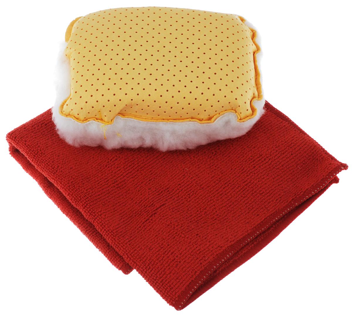 Набор для мытья и полировки автомобиля Pingo, цвет: желтый, красный, 2 предмета5820_желтый, красныйНабор для мытья и полировки автомобиля Pingo состоит из универсальной губки с мехом и салфетки из микрофибры. Универсальная губка с мехом предназначена для удаления влаги или конденсации с запотевших стекол. Меховая сторона губки может применяться для нанесения полироли на кузов автомобиля. Салфетка из микрофибры предназначена для полировки кузова автомобиля, для чистки лобового стекла, пластика и хрома. Может быть использована без химических средств, отлично впитывает воду, пыль и грязь. Сильно загрязненную салфетку промыть в теплой воде. При стирке не использовать отбеливатель и смягчающие средства, не гладить. Состав губки: 80% вискоза, 20% полипропилен, мех, полиэстер, пенополиуретан. Состав салфетки: 70% полиэстер, 30% полиамид. Размер губки: 13 х 9 х 5 см. Размер салфетки: 32 х 32 см.