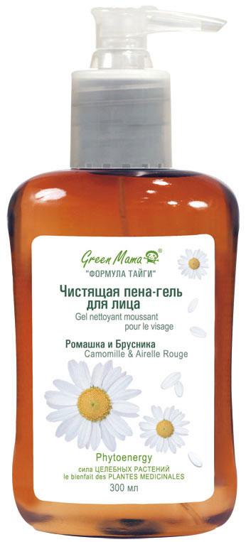 Green Mama Чистящая пена-гель для лица Ромашка и брусника, 300 мл green mama маска освежающая каолиновая с ментолом