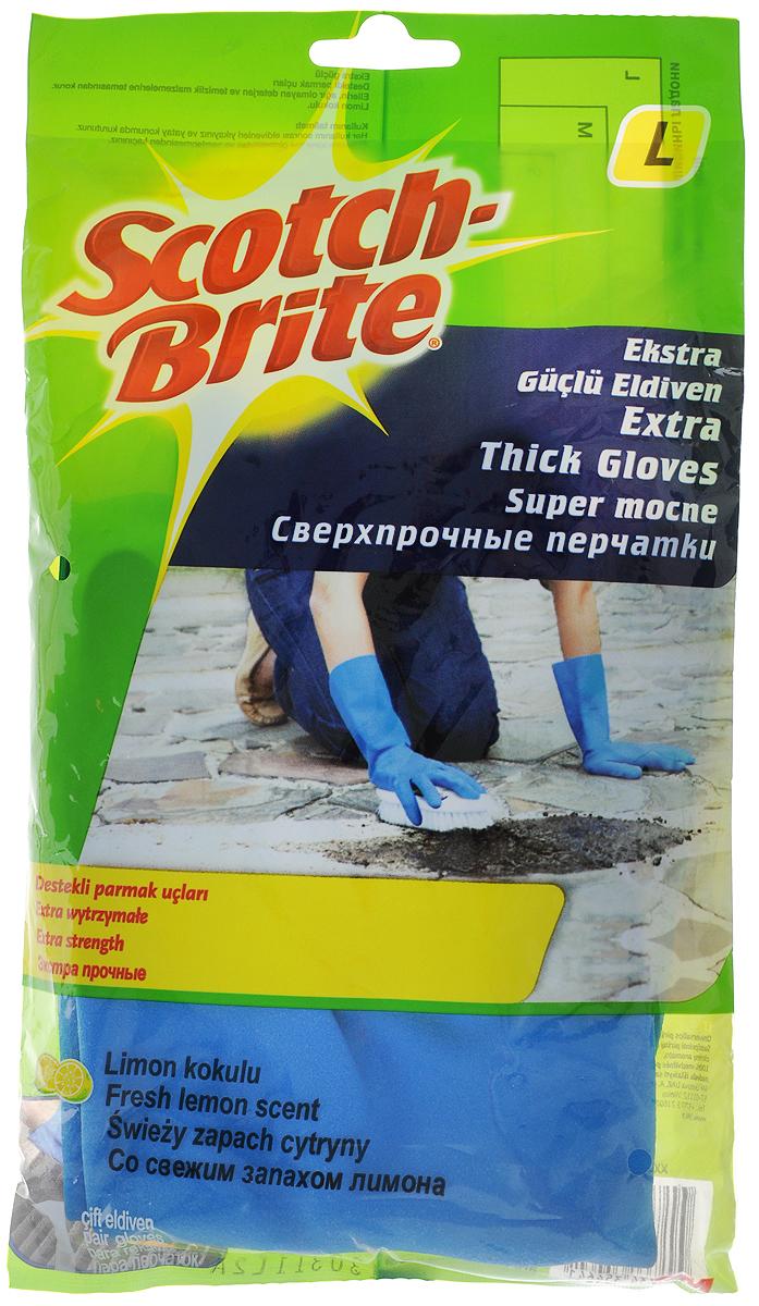 Перчатки Scotch Brite, сверхпрочные, цвет: синий. Размер L10503Экстрапрочные резиновые перчатки Scotch Brite с уплотненными кончиками пальцев и с приятным ароматом лимона, подходят для чувствительной кожи рук. Они защищают кожу рук при работе с бытовой химией, предохраняют от загрязнения и влаги, они идеально подходят для стирки уборки, и прочих работ по хозяйству. Перчатки удобные, принимают форму ладони, пористая поверхность лицевой стороны перчаток позволяет легко и уверенно держать необходимый предмет.