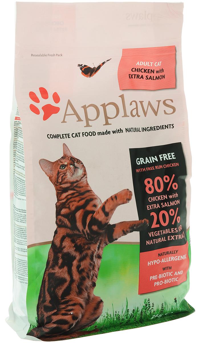 Корм сухой Applaws для кошек, беззерновой, с курицей, лососем и овощами, 2 кг24396Беззерновой корм для кошек Applaws изготовлен по особым рецептам, разработанным диетологами института Великобритании. Правильная диета очень важна для питомцев, ведь она меняется в зависимости от жизненного цикла. Также полнорационный корм должен включать в себя необходимое количество витаминов и минералов. В рецепте сухого корма Applaws учтен не только перечень наиболее необходимых минералов и витаминов, но и их строгий баланс. Так как сухой корм изготавливается только из натуральных качественных ингредиентов, крокеты привлекут внимание любого, даже очень привередливого питомца. Состав: дегидрированное мясо цыпленка минимум 47%, дегидрированное филе лосося минимум 19%, молодой картофель минимум 4%, жир домашней птицы минимум 8% (источник Омега 6), подлива из мяса птицы, приготовленной в собственном соку минимум 4%, лососевый жир (источник Омега 3), свекла минимум 3%, яичный порошок минимум 3%, пивные дрожжи, клетчатка, минералы, хлорид...