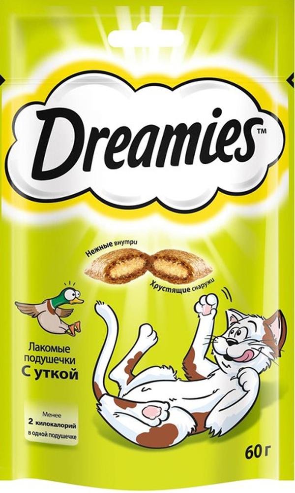 Лакомство для взрослых кошек Dreamies, подушечки с уткой, 60г57851Незабываемая нежная уточка в хрустящей вкусной подушечке – это достойная награда вашему любимому зверю. Теперь ему не нужно охотиться, стоит только открыть упаковку, и уточка никуда не убежит!