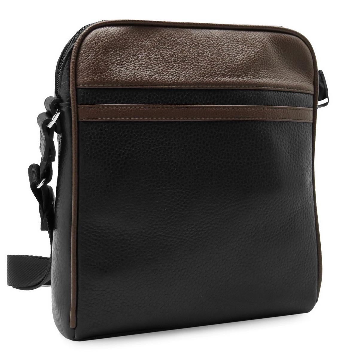 Сумка мужская Alexandr, цвет: черный, коричневый. П-33/63859425-002Стильная мужская сумка Alexandr изготовлена из натуральной кожи с зернистой фактурой, оформлена металлической фурнитурой и вставками из кожи коричневого цвета.Изделие содержит одно отделение, которое закрывается на застежку-молнию. Внутри сумки расположен врезной карман на молнии. Задняя стенка сумки дополнена врезным карманом на молнии. Изделие оснащено наплечным ремнем, длина которого регулируется при помощи пряжки.Практичный аксессуар вместит в себя все необходимое и позволит сохранить ваши документы.