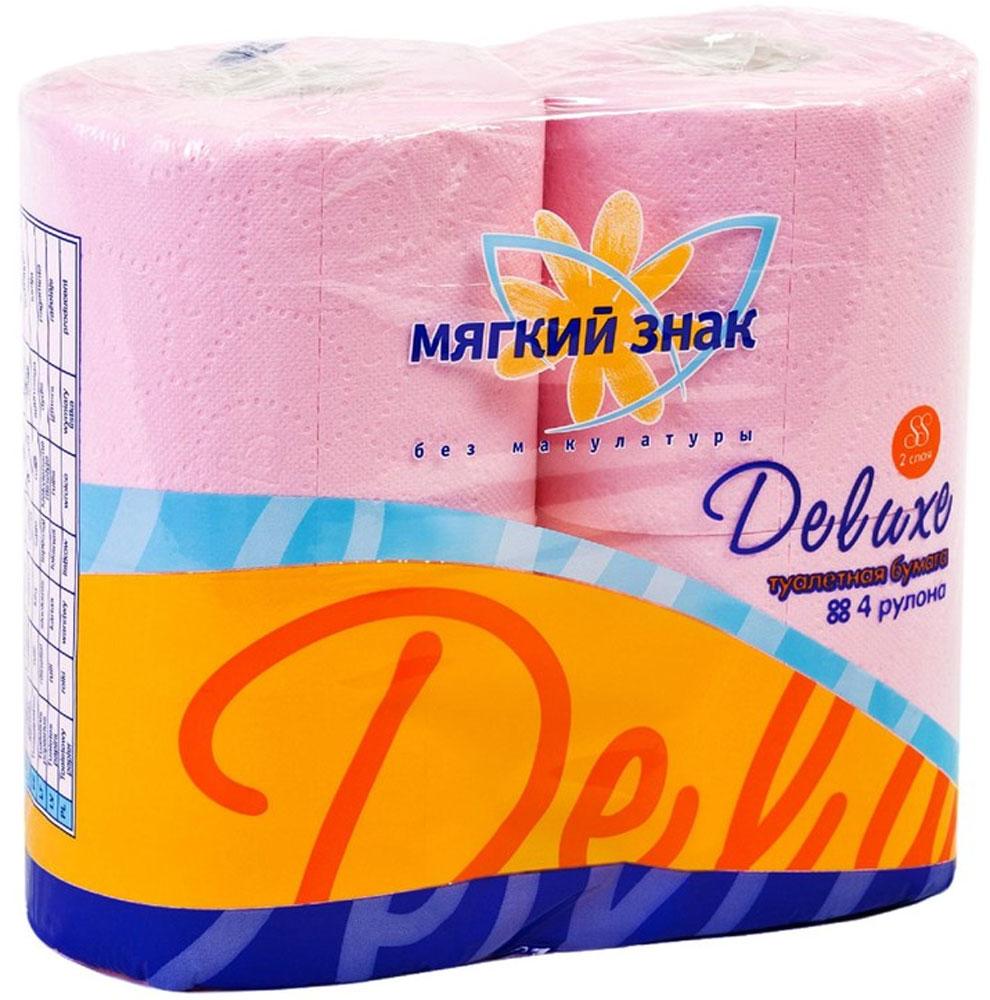 Туалетная бумага Мягкий знак Deluxe, двухслойная, цвет: розовый, 4 рулонаC44_розовыйТуалетная бумага Мягкий знак Deluxe, выполненная из натуральной целлюлозы, обеспечивает превосходный комфорт и ощущение чистоты и свежести. Необыкновенно мягкая, но в тоже время прочная, бумага не расслаивается и отрывается строго по линии перфорации. Двухслойные листы имеют рисунок с перфорацией. Количество слоев: 2. Размер листа: 12,5 см х 9,6 см. Состав: 100% целлюлоза.