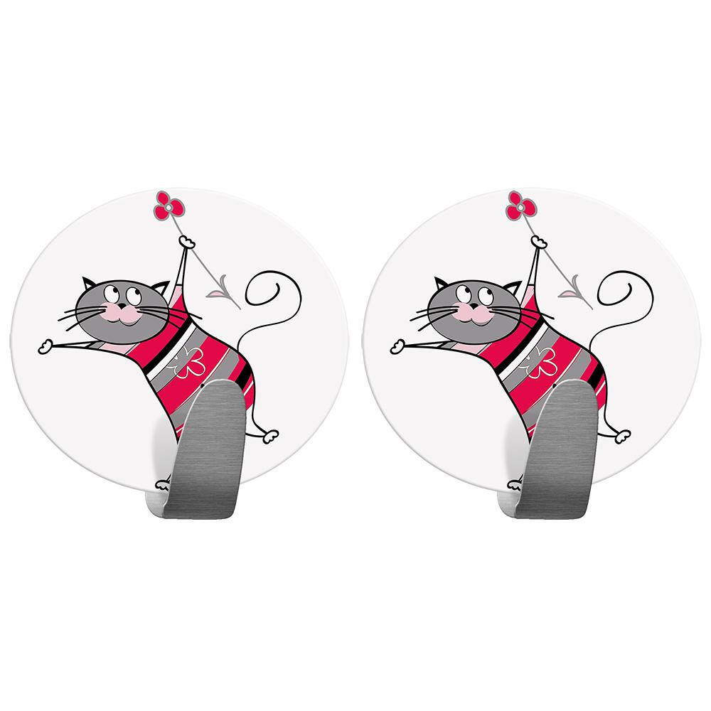 Крючок Tatkraft Funny Cats, самоклеющийся20092Tatkraft FUNNY CATS Самоклеющийся крючок из нержавеющей стали. Набор из 2х крючков. Надежная фиксация, . Размер: 55*50 мм. Выдерживает вес до 5 кг. Дизайн Tatkraft, коллекция Funny cats.