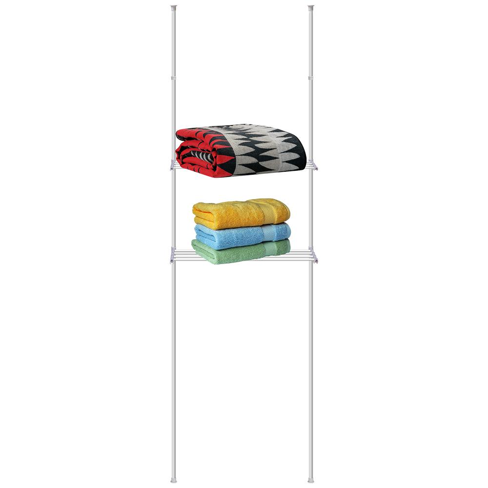 Стойка телескопическая Artmoon Ajaks, с двумя полками699546ARTMOON AJAKS Телескопическая стойка с двумя полками .Полки из частых прутьев, удобно использовать как сушилку для полотенец и как полки для организованного хранения. Размер: Ш 70.5 XГ 24MXВ198-245см. Белая коробка с наклейкой.