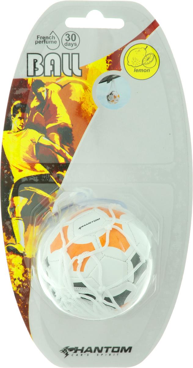 Ароматизатор Phantom Ball. Lemon, цвет: белый, оранжевый, черный, с ароматом лимона3204_ белый, оранжевый, черныйОригинальный ароматизатор Phantom Ball. Lemon, выполненный из высококачественной искусственной кожи и полипропилена, имитирует настоящий футбольный мяч. Повесьте ароматизатор в любом удобном месте - в салоне автомобиля, дома или в офисе - и насаждайтесь стойким ароматом лимона! Состав: полипропилен, искусственная кожа, отдушка.