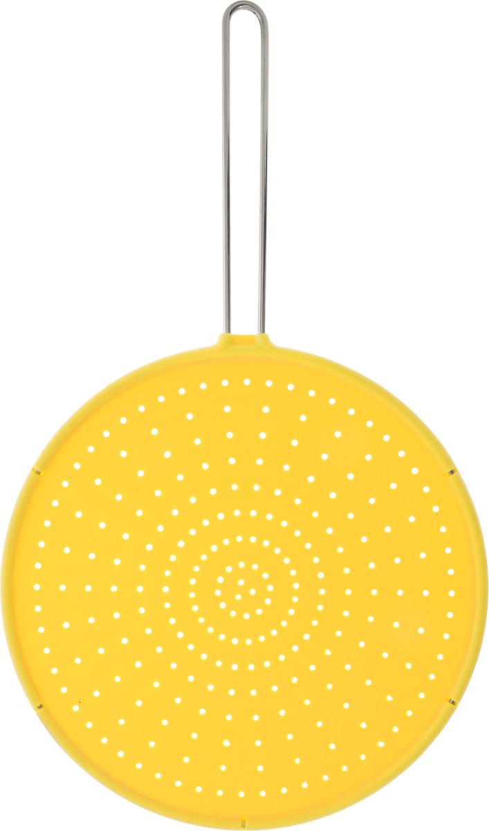 Брызгогаситель Tescoma Fusion, цвет: желтый, диаметр 28 см638470_ желтыйСито охранное Tescoma Fusion замечательно оберегает плиту от загрязнения при жарке. Предназначено для сковород и посуды диаметром 28 см и меньше. Выполнено из первоклассного силикона, термостойкость от -40°С до +230°С. Ручка изготовлена из нержавеющей стали. Можно мыть в посудомоечной машине. Диаметр сита: 28 см. Длина ручки: 18,5 см.