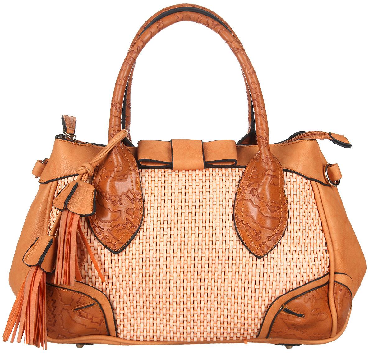 Сумка женская Orsa Oro, цвет: оранжевый. DK-329/11DK-329/11Стильная женская сумка Orsa Oro выполнена из искусственной кожи, оформлена оригинальной подвеской, фактурным тиснением и вставкой из искусственной кожи с декоративным плетением. Изделие содержит одно отделение, которое закрывается на молнию. Внутри расположены: два накладных кармашка для мелочей и врезной карман на молнии. Сумка оснащена съемным плечевым ремнем регулируемой длины, а также двумя практичными ручками. Дно сумки дополнено металлическими ножками. Оригинальный аксессуар позволит вам завершить образ и быть неотразимой.