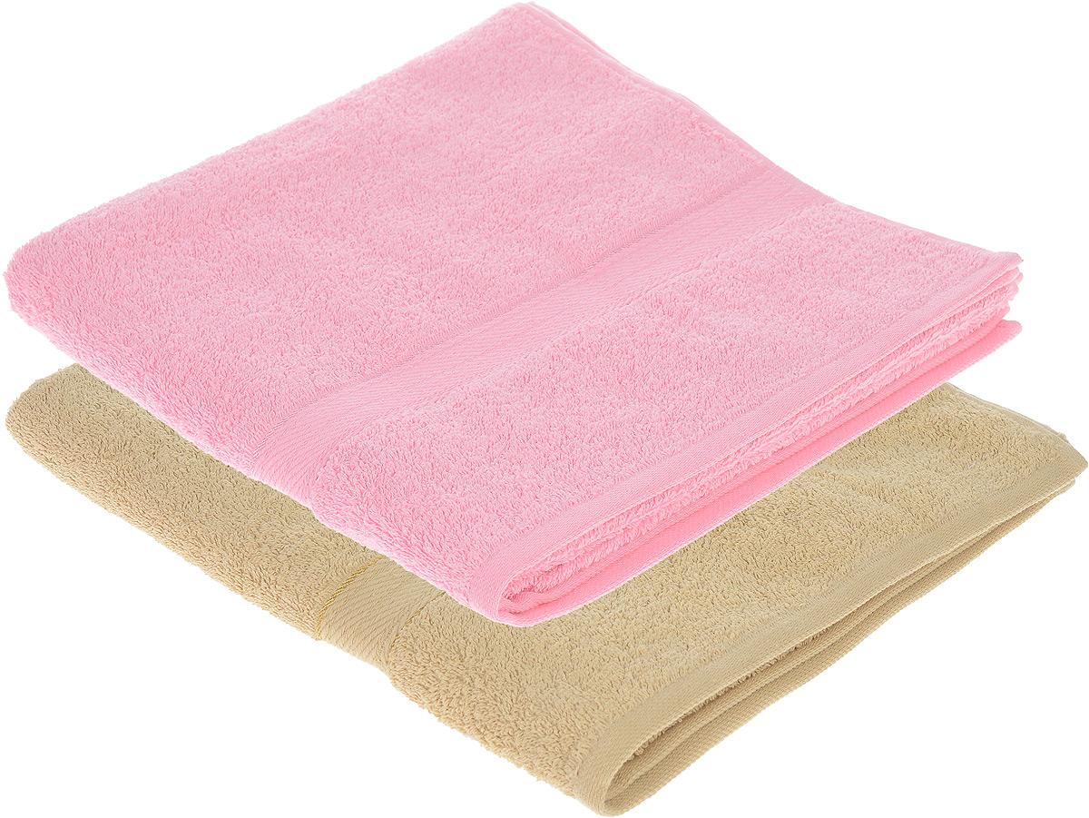 Набор махровых полотенец Aisha Home Textile, цвет: розовый, светло-коричневый, 70 х 140 см, 2 шт68/5/3Набор Aisha Home Textile состоит из двух махровых полотенец, выполненных из натурального 100% хлопка. Изделия отлично впитывают влагу, быстро сохнут, сохраняют яркость цвета и не теряют формы даже после многократных стирок.Полотенца Aisha Home Textile очень практичны и неприхотливы в уходе. Комплектация: 2 шт.