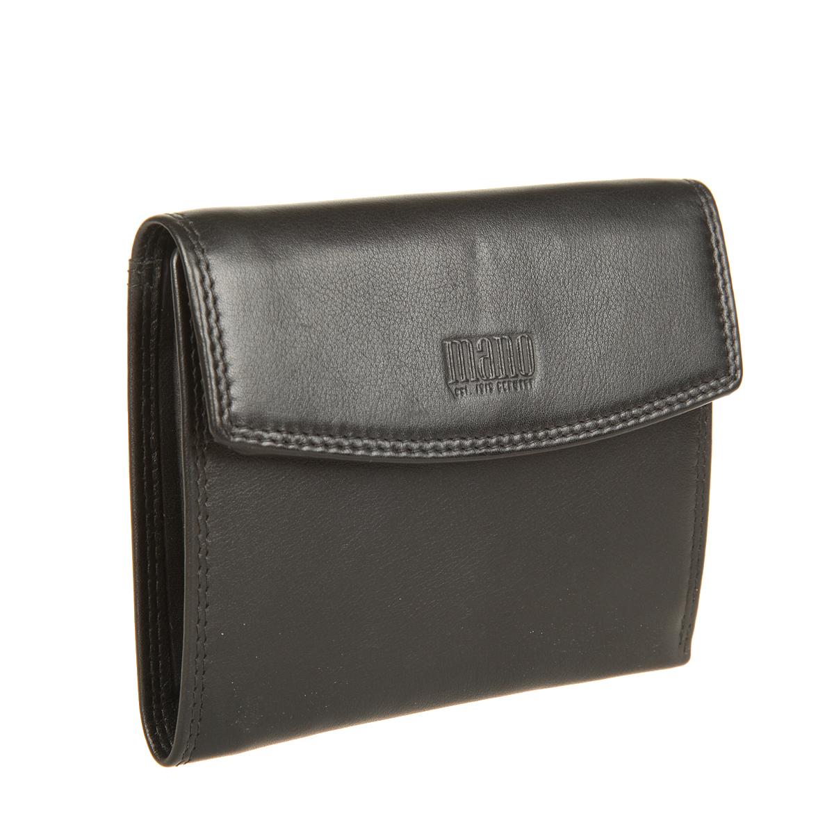 Портмоне мужское Mano, цвет: черный. 1900819008 blackСтильное мужское портмоне Mano изготовлено из натуральной кожи, оформлено тиснением с символикой бренда. Изделие раскладывается и закрывается клапаном на кнопку. Внутри портмоне расположены два отделения для купюр, два потайных кармана, сетчатый карман, два кармана для мелких документов, восемь прорезных карманов для пластиковых карт и отделение для монет, закрывающееся клапаном на кнопку. Изделие поставляется в фирменной упаковке. Такое практичное портмоне станет отличным подарком для человека, ценящего качественные и необычные вещи.