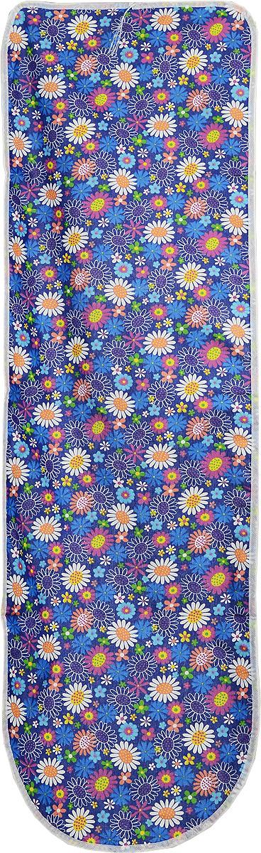 Чехол для гладильной доски Eva Detalle, цвет: синий, 120 х 37 смЕ1302_синий, цветочкиЧехол для гладильной доски Eva Detalle, выполненный из хлопка с подкладкой из мягкого войлока, предназначен для защиты или замены изношенного покрытия гладильной доски. Из войлочного полотна вы можете вырезать подкладку любого размера, подходящую именно для вашей доски. Чехол препятствует образованию блеска и отпечатков металлической сетки гладильной доски на одежде. Этот качественный чехол обеспечит вам легкое глажение. Размер чехла: 120 x 37 см. Размер войлочного полотна: 130 х 52 см. Размер доски, для которой предназначен чехол: 115 x 32 см.