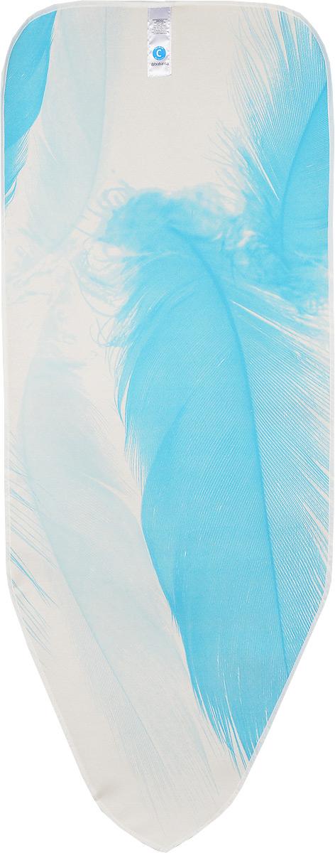 Чехол для гладильной доски Brabantia Perfect Fit, цвет: голубой, белый, 124 х 45 см191480_голубое пероЧехол для гладильной доски Brabantia Perfect Fit, одна сторона которого выполнена из хлопка, другая - из поролона, предназначен для защиты или замены изношенного покрытия гладильной доски. Чехол снабжен стягивающим шнуром, при помощи которого вы легко отрегулируете оптимальное натяжение чехла и зафиксируете его на рабочей поверхности гладильной доски. В комплекте имеются ключ для натяжения нити и резинка с крючками для лучшей фиксации чехла. Этот качественный чехол обеспечит вам легкое глажение.