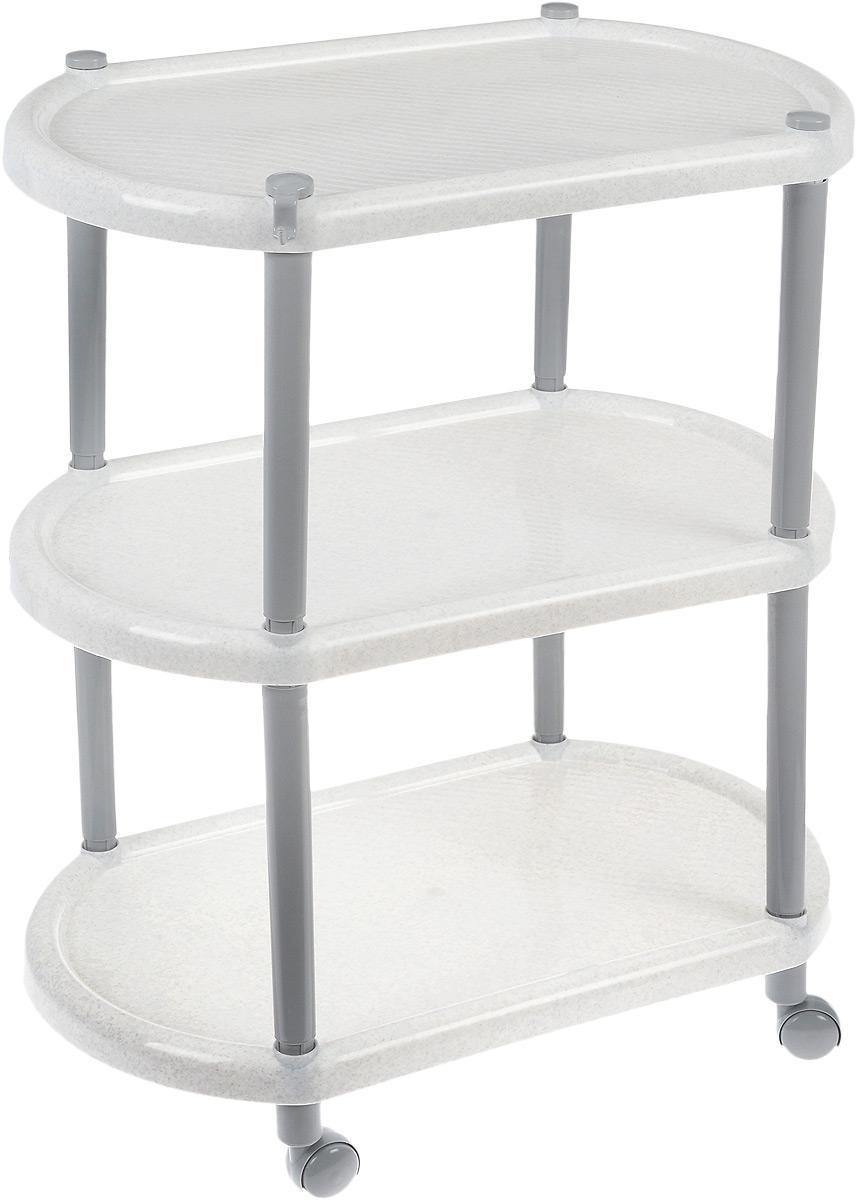 Этажерка овальная Полимербыт, на колесиках, цвет: белый мрамор, 3 полкиC945_белый мраморОвальная этажерка Полимербыт с 3 полками выполнена из пластика и предназначена для хранения различных предметов на кухне, в ванной или прихожей. На кухне в ней можно хранить овощи и фрукты, в ванной - различные ванные принадлежности, в прихожей - обуви и аксессуары. Для удобства перемещения этажерка оснащена колесиками. Очень удобная и компактная, но в тоже время вместительная, она прекрасно впишется в пространство любого помещения. Этажерка придется особенно кстати, если у вас небольшая ванная или кухня: она займет минимум пространства. Легко собирается и разбирается.