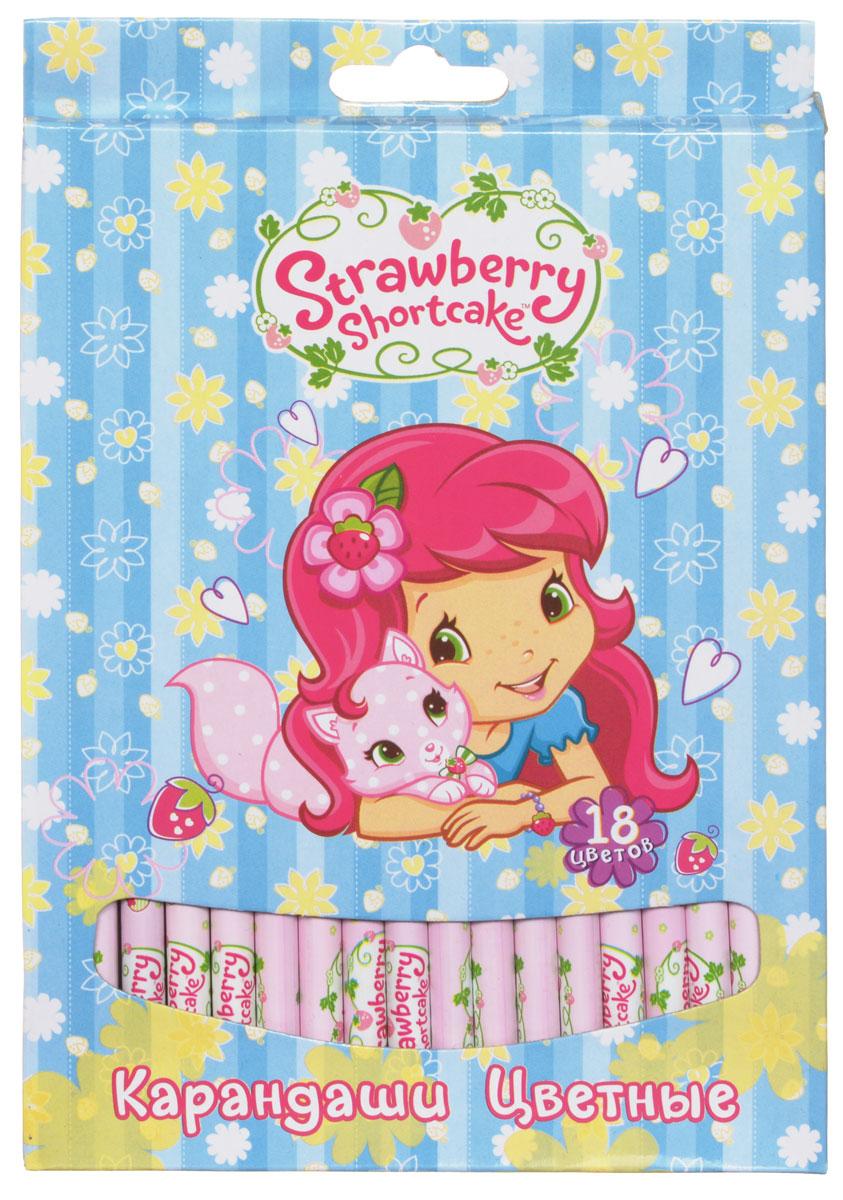 Action! Набор цветных карандашей Strawberry Shortcake 18 цветовSW-ACP205-18_голубойЦветные карандаши Action Strawberry Shortcake откроют юным художникам новые горизонты для творчества, а также помогут отлично развить мелкую моторику рук, цветовое восприятие, фантазию и воображение. Традиционный круглый корпус изготовлен из натуральной древесины и оформлен рисунками Strawberry Shortcake на розовом фоне. Карандаши удобно держать в руках, а мягкий грифель не требует сильного нажима. Комплект включает 18 заточенных карандашей ярких насыщенных цветов.