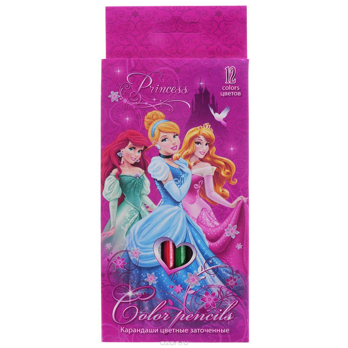 Набор цветных карандашей, 12 шт. Цветные карандаши длиной 17,8 см; заточенные; дерево ; цветной грифель 3 мм; карандаш в цвет грифеля с логотипом; Коробка из мелованного картона, раздвижная, европодвес. PrincessPRBB-US1-1P-12Набор цветных карандашей Princess состоит из двенадцати ярких и насыщенных цветов. Карандаши уже заточены, поэтому все, что нужно для рисования - это взять чистый лист бумаги, и можно начинать! Поверхность: Бумага. Упаковка: .