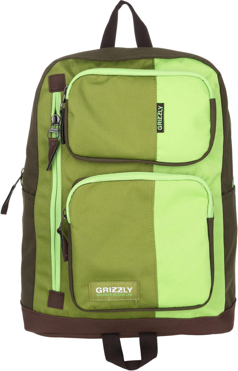 Рюкзак городской Grizzly, цвет: салатовый, 23 л. RU-619-1/22001 чернСтильный городской рюкзак Grizzly выполнен из таслана, оформлен нашивкой с символикой бренда.Рюкзак содержит одно вместительное отделение, которое закрывается на молнию. Внутри расположены: врезной карман на молнии и мягкий накладной карман на липучке, предназначенный для переноски планшета или небольшого ноутбука. Снаружи, по бокам изделия, расположены два накладных кармана. На лицевой стороне расположены: два объемных кармана, каждый из которых закрывается на молнию, и врезной карман на молнии. Задняя сторона рюкзака дополнена потайным карманом на молнии. Рюкзак оснащен петлей для подвешивания и двумя практичными лямками регулируемой длины.Практичный рюкзак станет незаменимым аксессуаром, который вместит в себя все необходимое.