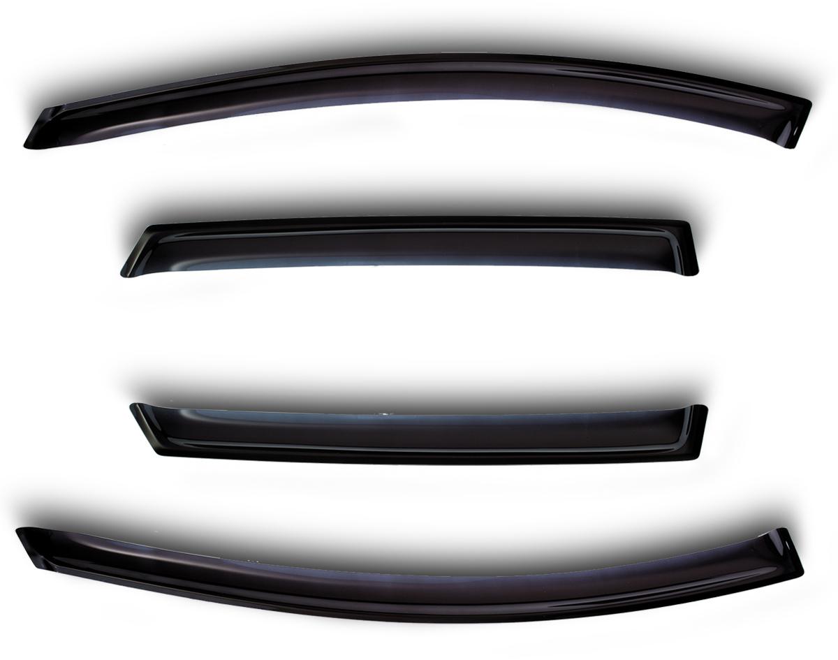 Комплект дефлекторов Novline-Autofamily, для Nissan Juke 2011-, 4 штNLD.SNIJUK1132Комплект накладных дефлекторов Novline-Autofamily позволяет направить в салон поток чистого воздуха, защитив от дождя, снега и грязи, а также способствует быстрому отпотеванию стекол в морозную и влажную погоду. Дефлекторы улучшают обтекание автомобиля воздушными потоками, распределяя их особым образом. Дефлекторы Novline-Autofamily в точности повторяют геометрию автомобиля, легко устанавливаются, долговечны, устойчивы к температурным колебаниям, солнечному излучению и воздействию реагентов. Современные композитные материалы обеспечивают высокую гибкость и устойчивость к механическим воздействиям.