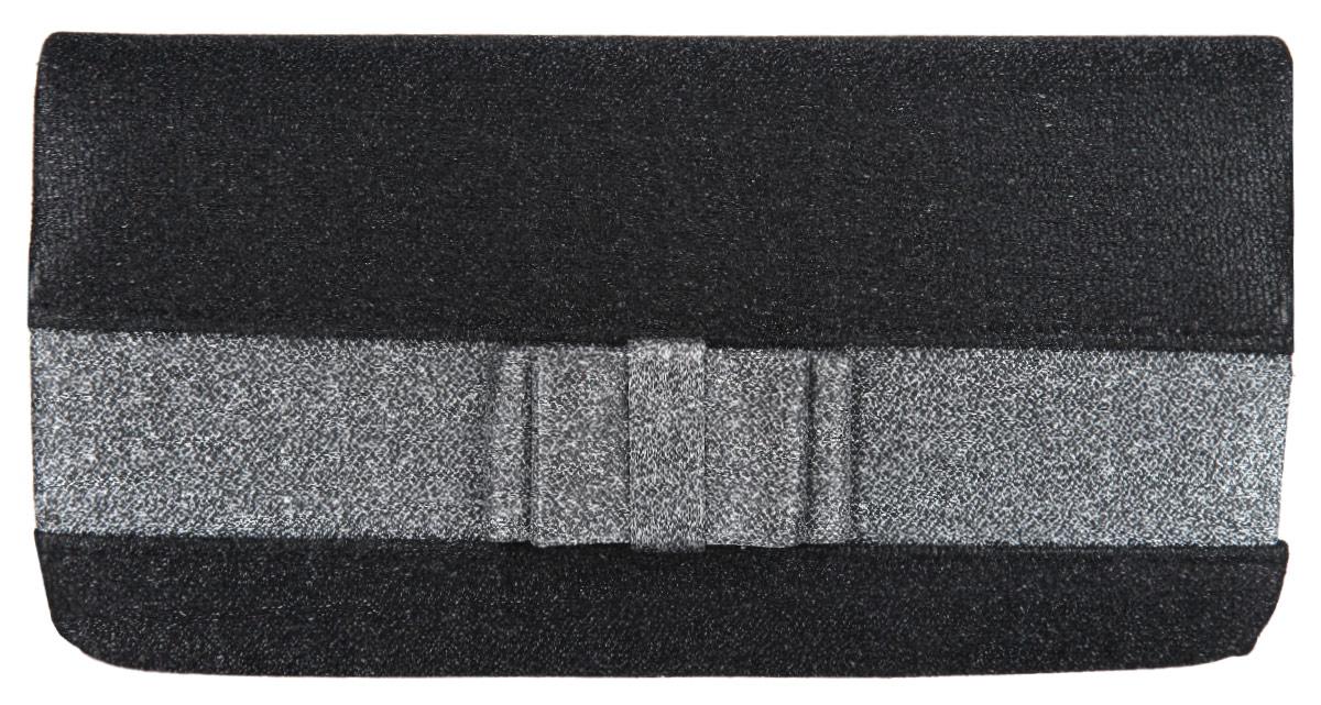 Клатч Eleganzza, цвет: черный, серебряный. ZZ-52073-47670-00504Стильный клатч Eleganzza изготовлен из текстиля, оформлен кокетливым бантиком.Изделие содержит одно отделение, которое закрывается клапаном на магнитную кнопку. Внутри расположен накладной кармашек для мелочей. Изделие оснащено практичным плечевым ремнем-цепочкой.Оригинальный аксессуар позволит вам завершить образ и быть неотразимой.