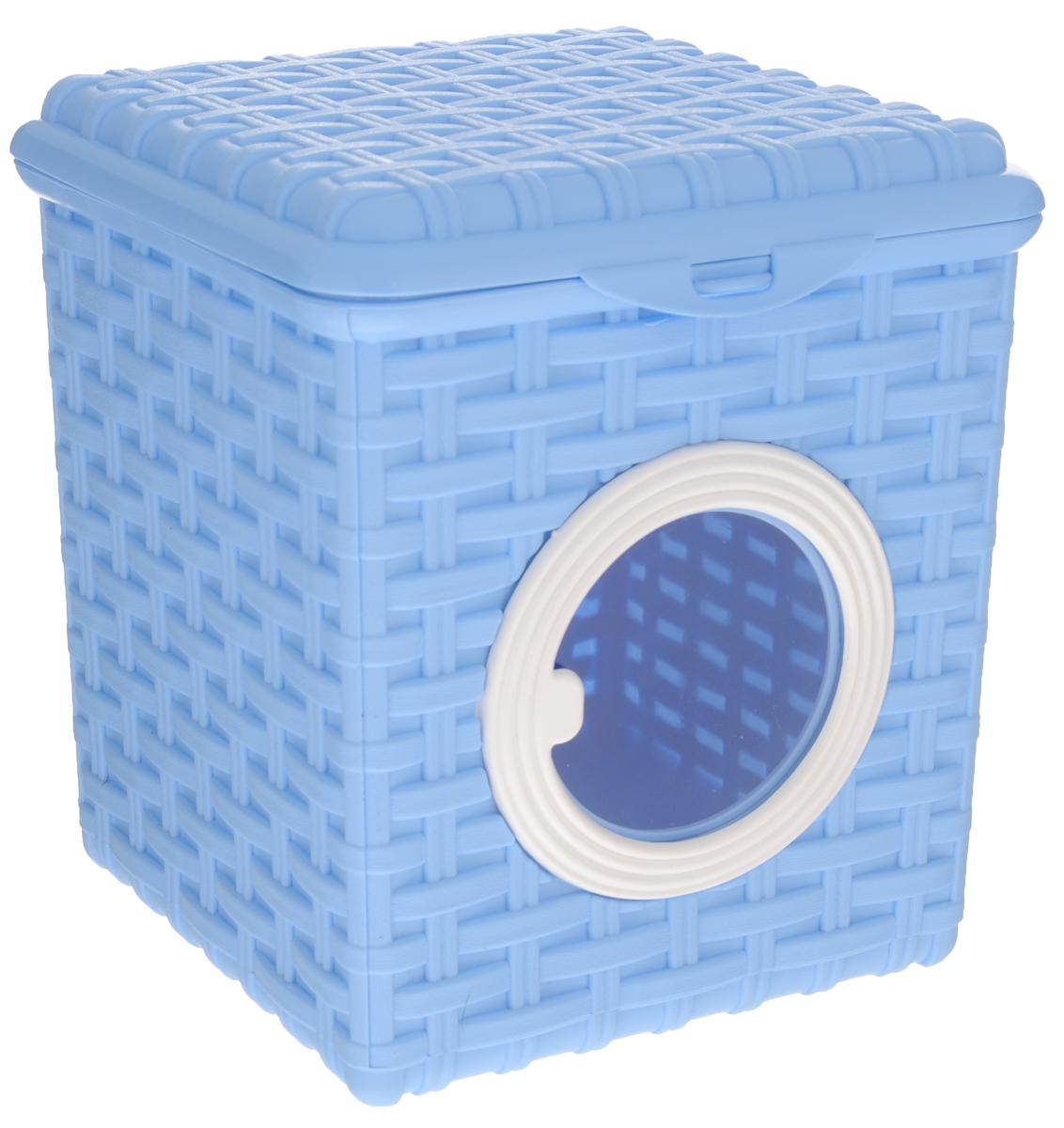 Контейнер для мелочей Violet, цвет: голубой, 18 см х 18,5 см х 14,5 см10503Контейнер Violet изготовлен из прочного пластика и оформлен плетением под корзинку. Контейнер имеет прозрачное пластиковое окошко и откидную крышку, которая закрывается на защелку. Контейнер Violet идеально подойдет для хранения различных мелочей.Объем: 3 л.
