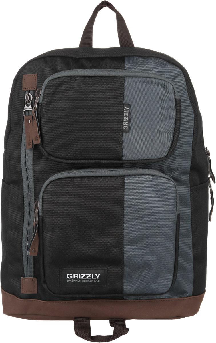 Рюкзак городской Grizzly, цвет: черный, 23 л. RU-619-1/4RU-433-2 Рюкзак /4 черный - св.серыйСтильный городской рюкзак Grizzly выполнен из таслана, оформлен нашивкой с символикой бренда.Рюкзак содержит одно вместительное отделение, которое закрывается на молнию. Внутри расположены: врезной карман на молнии и мягкий накладной карман на липучке, предназначенный для переноски планшета или небольшого ноутбука. Снаружи, по бокам изделия, расположены два накладных кармана. На лицевой стороне расположены: два объемных кармана, каждый из которых закрывается на молнию, и врезной карман на молнии. Задняя сторона рюкзака дополнена потайным карманом на молнии. Рюкзак оснащен петлей для подвешивания и двумя практичными лямками регулируемой длины.Практичный рюкзак станет незаменимым аксессуаром, который вместит в себя все необходимое.