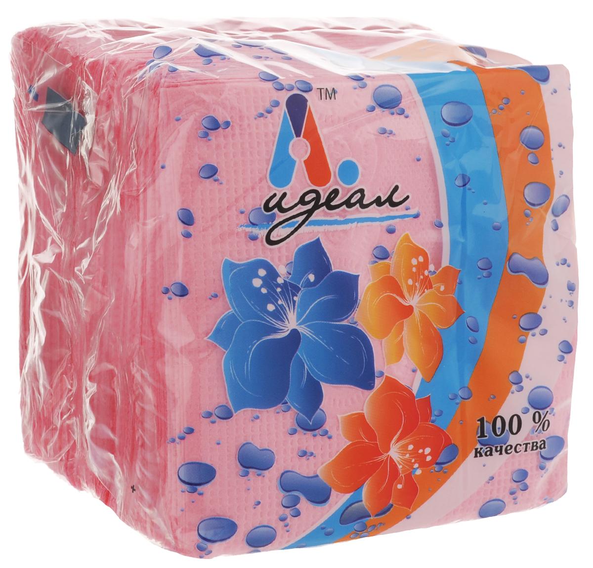 Салфетки бумажные Идеал, цвет: розовый, 85 штСЛФ04782Бумажные салфетки Идеал выполнены из 100% целлюлозы. Салфетки подходят для косметического, санитарно-гигиенического и хозяйственного назначения. Нежные и мягкие. Салфетки украшены узором. Комплектация: 85 +/- 5 шт. Размер салфетки: 24 х 24 см.