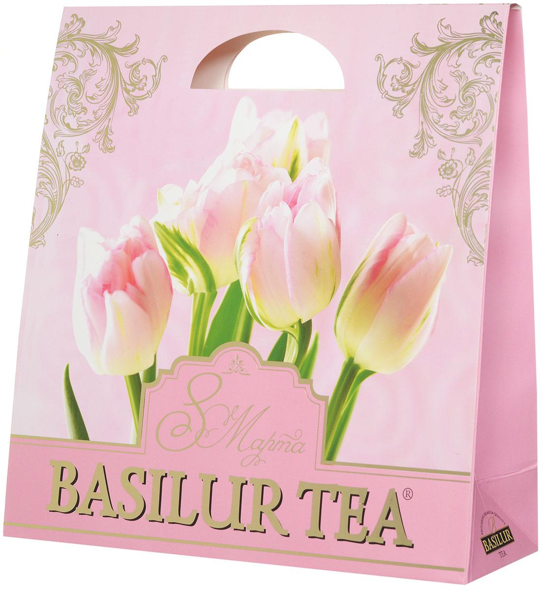 """Basilur Подарочный набор """"Нежный"""" зеленый ягодный чай """"Париж"""" и салфетка для дома в подарок, 100 г 10046-00"""