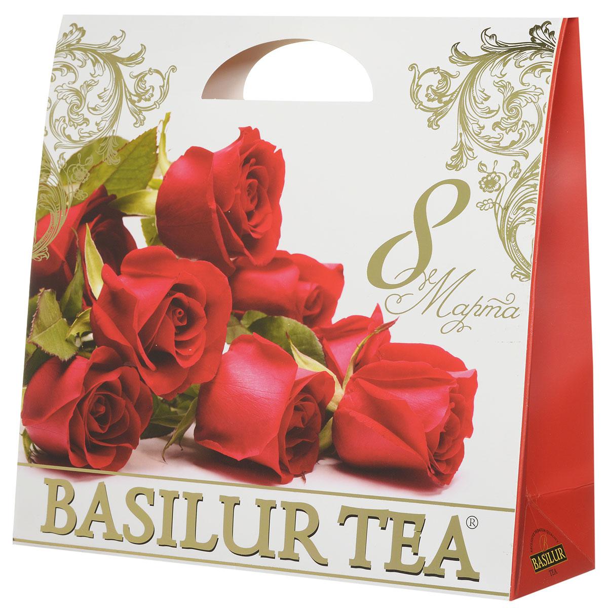 """Basilur Подарочный набор """"Алый"""" зеленый ягодный чай """"Париж"""" и салфетка для дома в подарок, 100 г 10043-00"""