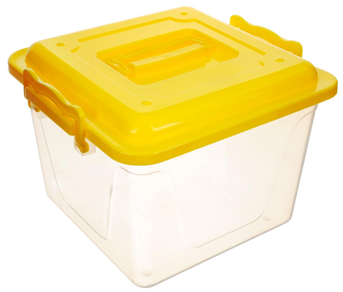 Контейнер Альтернатива, цвет: прозрачный, желтый, 8,5 лМ1032Контейнер Альтернатива прекрасно подойдет для хранения небольших игрушек, инструментов, швейных принадлежностей и многого другого. Он изготовлен из высококачественного пластика. Контейнер плотно закрывается крышкой с двумя защелками. Удобный и легкий контейнер позволит вам хранить вещи в полном порядке, а благодаря современному дизайну он впишется в любой интерьер. Контейнер имеет компактные размеры, поэтому не занимает много места. Размер (с учетом крышки): 26 х 27 х 20,5 см.