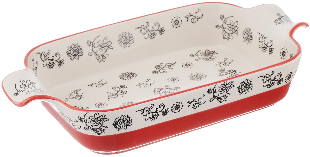 Форма для запекания Viconte, прямоугольная, керамическая, цвет: красный, слоновая кость, 2,2 л94672Прямоугольная форма Viconte, выполненная из высококачественной жаропрочной керамики, оснащена двумя удобными ручками. Стильный дизайн и яркий рисунок делают это изделие прекрасным украшением на любой кухне. С формой для запекания Viconte процесс приготовления любого блюда станет простым и быстрым. Подходит для использования в духовом шкафу и СВЧ печи. Выдерживает температуру до 230°C. Можно мыть в посудомоечной машине. С такой формой вы всегда сможете порадовать своих близких оригинальной выпечкой.Размер формы (с учетом ручек): 35,4 х 19,5 см. Размер формы (без учета ручек): 27,7 х 19,5 см. Высота стенок: 6,4 см.