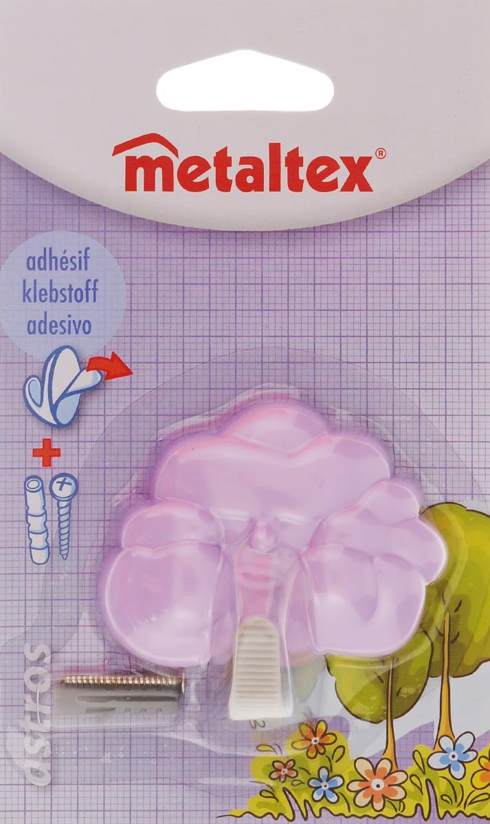 Крючок настенный Metaltex Astros, цвет: сиреневый29.05.2010_ сиреневыйНастенный крючок Metaltex Astros изготовлен из высококачественного цветного пластика в виде тучки. Он прекрасно подойдет для вашей ванной комнаты или кухни и не займет много места, надежно выдержав все, что вы на него повесите. Крючок крепится на стену с помощью липкой ленты, которая находится на задней стороне крючка или при помощи шурупа (входит в комплект). Он приклеивается к гладкой, ровной и чистой поверхности. На него можно вешать полотенца или любые другие вещи.