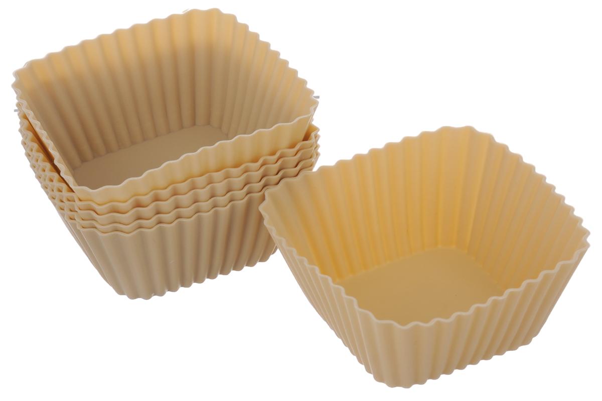Набор форм для выпечки кексов Calve, цвет: бежевый, 6 штCL-4552НаборCalve состоит из шести квадратных форм для выпечки, выполненных из силикона. Благодаря тому, что форма изготовлена из силикона, готовый лед, выпечку или мармелад вынимать легко и просто. Материал устойчив к фруктовым кислотам, может быть использован в духовках, микроволновых печах и морозильных камерах (выдерживает температуру от -40°C до +230°C). Можно мыть в посудомоечной машине. Размер формы (по верхнему краю): 7 х 7 см. Высота формы: 3,1 см.