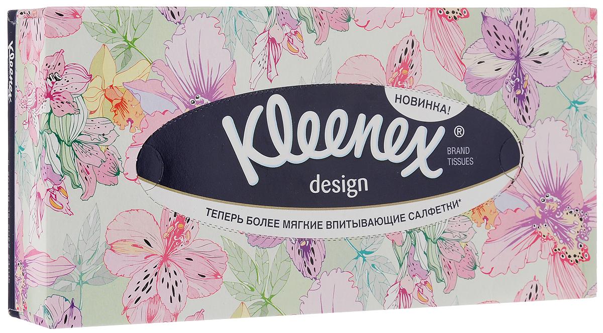 """Салфетки универсальные Kleenex """"Design. Цветы"""", двухслойные, 70 шт 26083177_светло-салатовый, розовые цветы"""