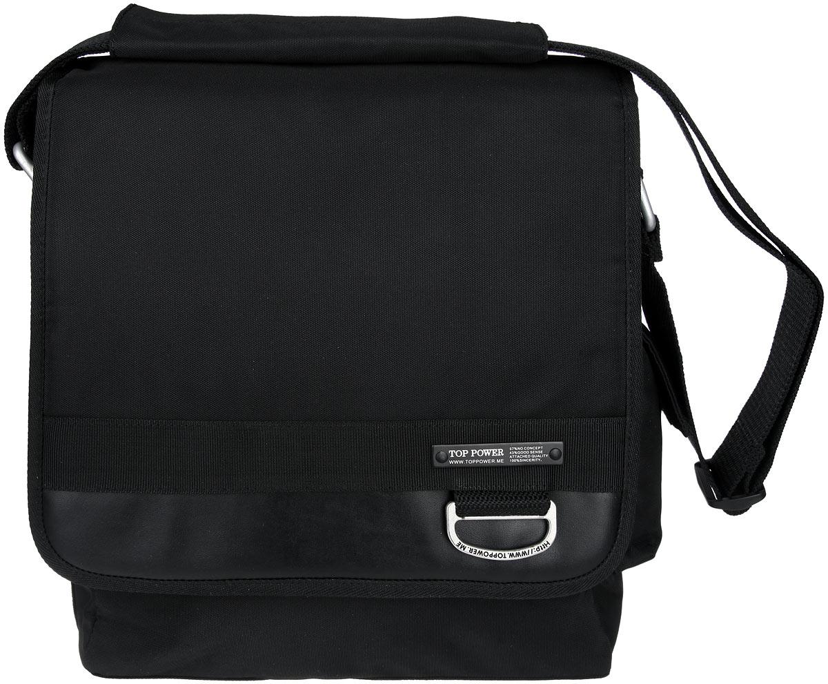 Сумка-планшет мужская Top Power, цвет: черный. 945 TP945 TP blackСтильная мужская сумка-планшет Top Power выполнена из плотного полиэстера и натуральной кожи. Сумка имеет одно основное отделение, закрывающееся на застежку-молнию. Внутри находится прорезной карман на застежке-молнии. Закрывается изделие на клапан с застежкой-липучкой. На передней стенке, под клапаном, находится нашивкой карман на застежке-липучке, накладной открытый карман и два держателя для авторучек. На задней стенке сумки расположен дополнительный прорезной карман на застежке-молнии. На одной из боковых сторон находится накладной карман, закрывающийся на клапан с застежкой-липучкой. Сумка оснащена текстильным плечевым ремнем регулируемой длины. Стильная сумка - необходимый аксессуар для современного мужчины.