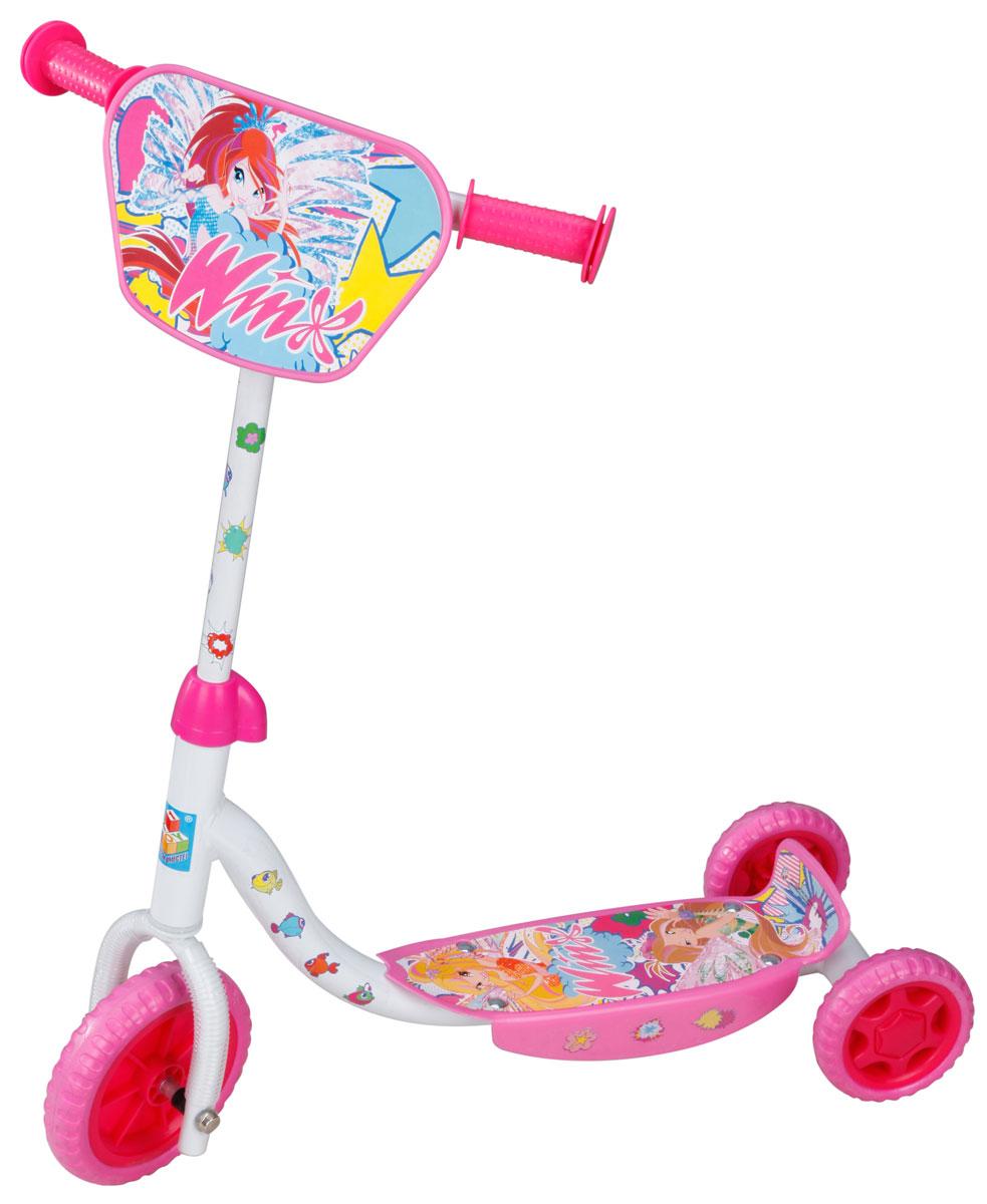 1TOY Самокат детский трехколесный Winx цвет розовый белыйWRA523700Детский самокат 1TOY Winx с декоративной панелью на ручках непременно понравится вашей принцессе. Он легкий и маневренный. Даже при постоянном использовании самокат смело прослужит несколько лет. Ручки самоката выполнены таким образом, что ребенку будет очень удобно за них держаться, и руки малышки не будут скользить. Площадка для ног снабжена противоскользящим покрытием. Колеса имеют хорошее сцепление с поверхностью и обеспечивают комфортное движение без тряски.Создан самокат специально для активного отдыха, чтобы ребенок имел возможность совмещать полезное времяпрепровождение и приятные физические нагрузки.