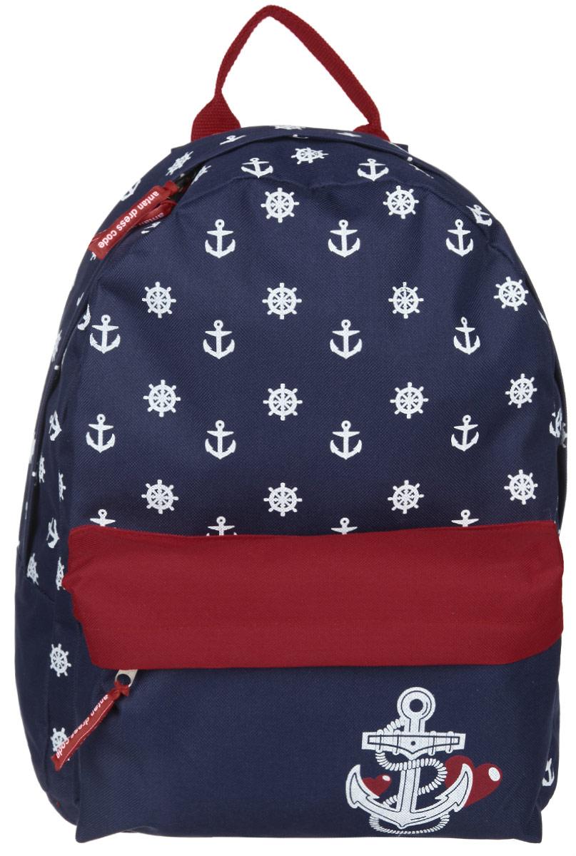 Рюкзак Antan, цвет: синий, красный, белый. 6-76-7Стильный рюкзак Antan изготовлен из текстиля и оформлен принтом с морской тематикой. Изделие содержит одно основное отделение, которое закрывается на застежку-молнию. Внутри рюкзака расположен мягкий карман для планшета. На лицевой стороне рюкзака расположен объемный карман на молнии. Изделие оснащено двумя удобными лямками регулируемой длины и петлей для подвешивания. Практичный аксессуар вместит в себя все необходимое и позволит завершить образ.