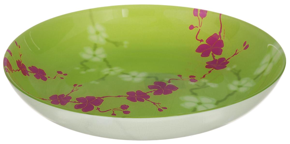 Тарелка глубокая Luminarc Kashima, цвет: зеленый, розовый, диаметр 20 смVT-1520(SR)Глубокая тарелка Luminarc Kashima выполнена из ударопрочного стекла и имеет классическую круглую форму. Она прекрасно впишется в интерьер вашей кухни и станет достойным дополнением к кухонному инвентарю. Тарелка Luminarc Kashima подчеркнет прекрасный вкус хозяйки и станет отличным подарком. Диаметр тарелки (по верхнему краю): 20 см.
